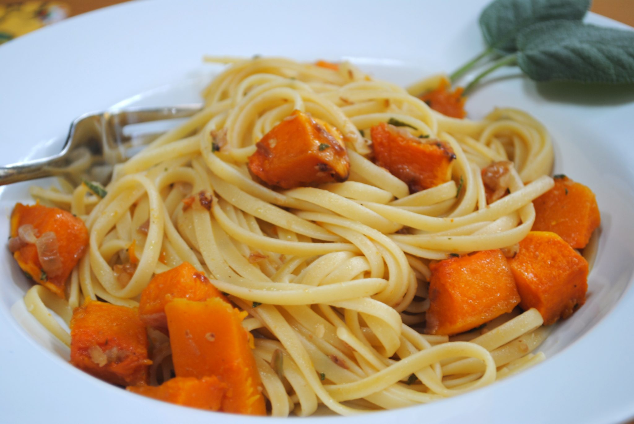 Linguine with Roasted Butternut Squash, Walnuts and Fresh Sage -