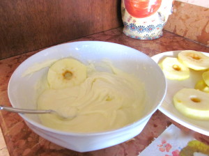 Dip the apples in the batter