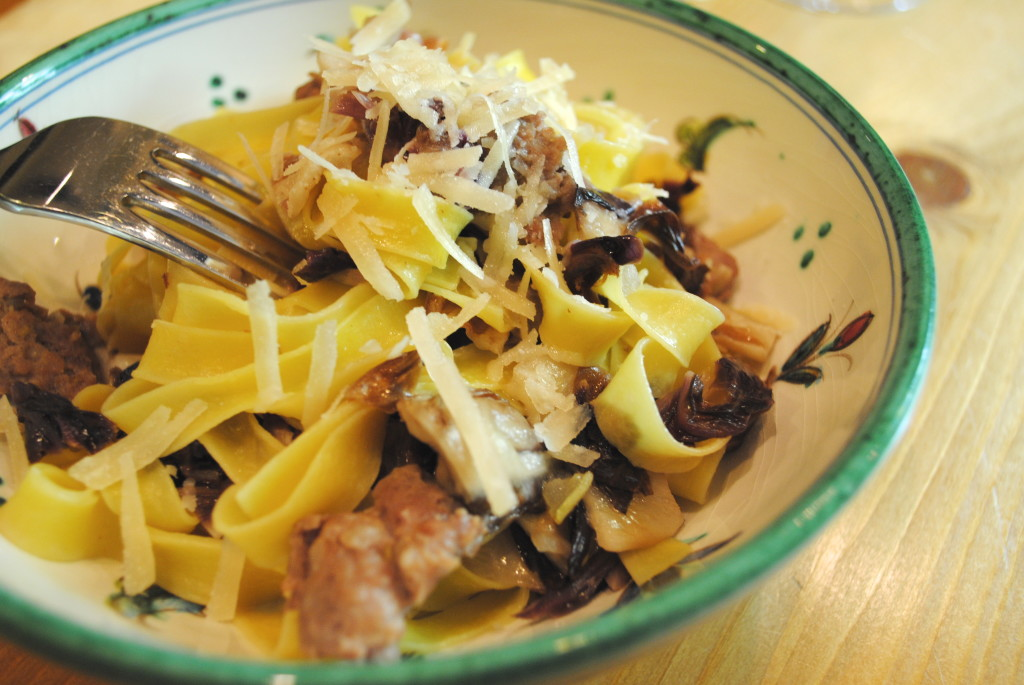 Tagliatelle with Sausage and Radicchio