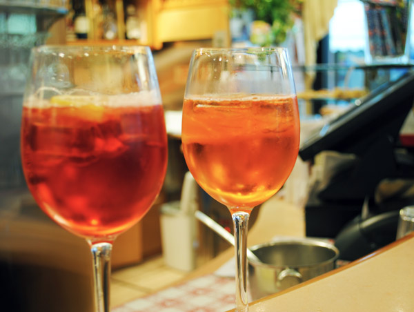 Campari and Aperol Spritz and Pirlo