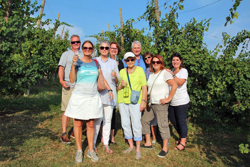 Group in Vineyard on Prosecco Tour