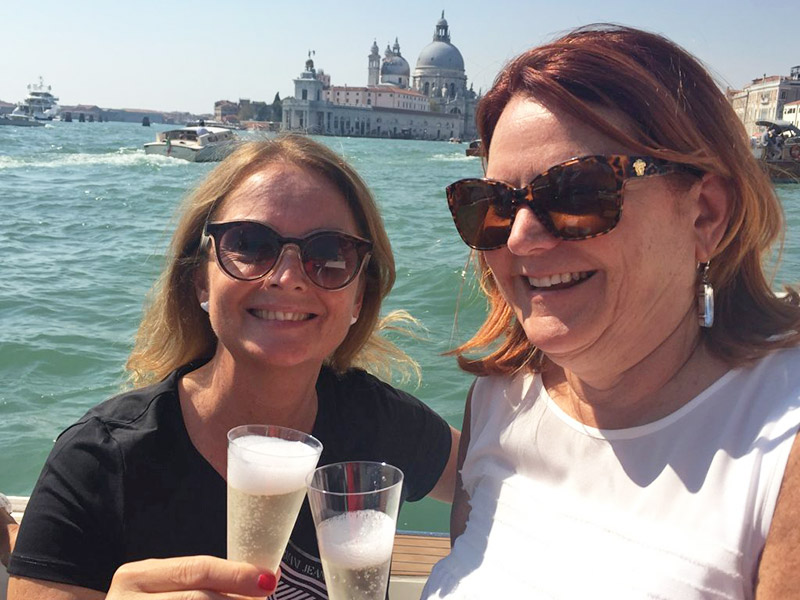 Drinking Prosecco on Boat in Venice for Prosecco Tour